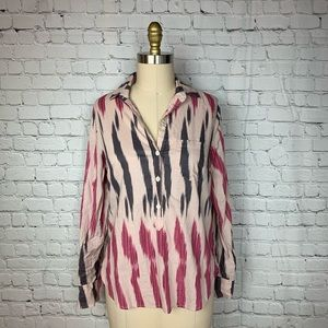J Crew Popover Pink Gray Button Down Blouse Top